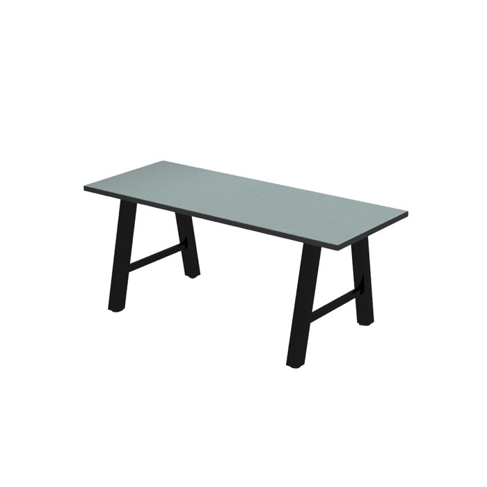 Atlas dining height communal table, laminate top with Black Dur-A-Edge, Onyx Black frame