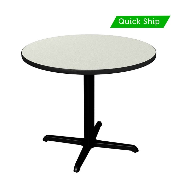 White Nebula table top with black thin profile Dur-A-Edge