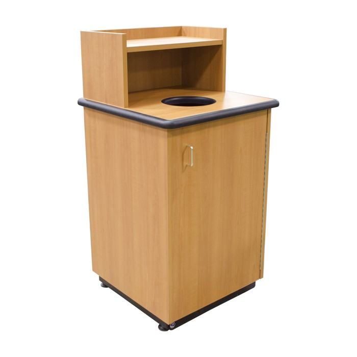 round drop top waste receptacle with tray shelf restaurant trash can plymold essentials. Black Bedroom Furniture Sets. Home Design Ideas