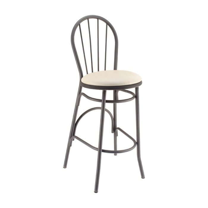 Spokeback Metal Parlor Barstool with Upholstered Seat