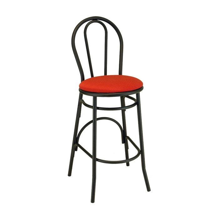 Loopback Metal Parlor Barstool with Upholstered Seat for Bars