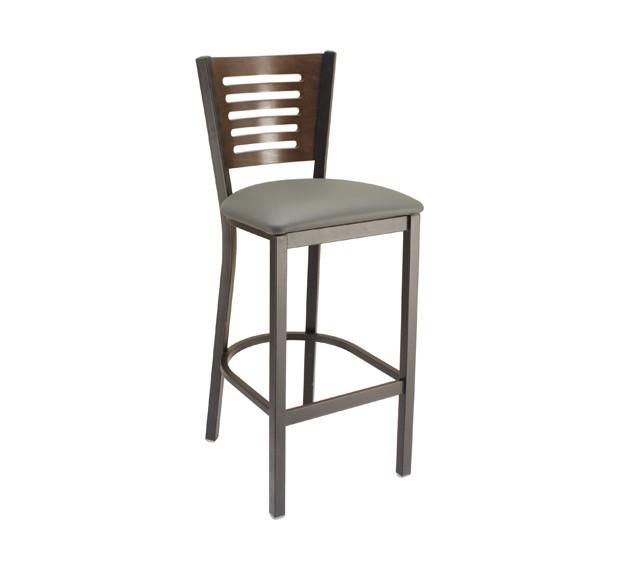 Slate Grey Vinyl Seat, Truffle Stain Back, Onyx Black Frame Metal Barstool for Restaurants & Bars