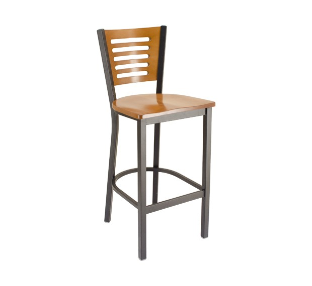 Fawn Stain Seat & Back, Onyx Black Frame Park Avenue Rowback Metal Commercial Barstool with Wood Saddle Seat