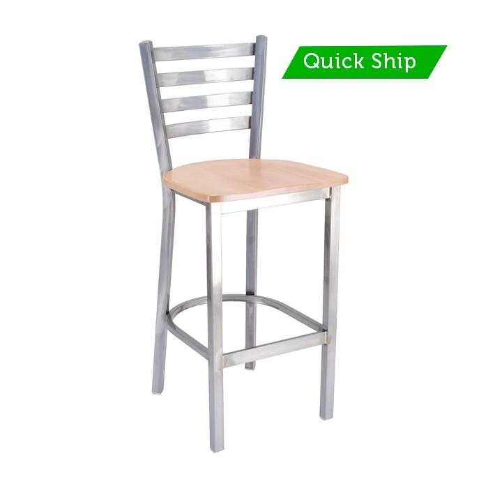 Quattro Ladderback Metal Barstool with Wood Saddle Seat - Quick Ship