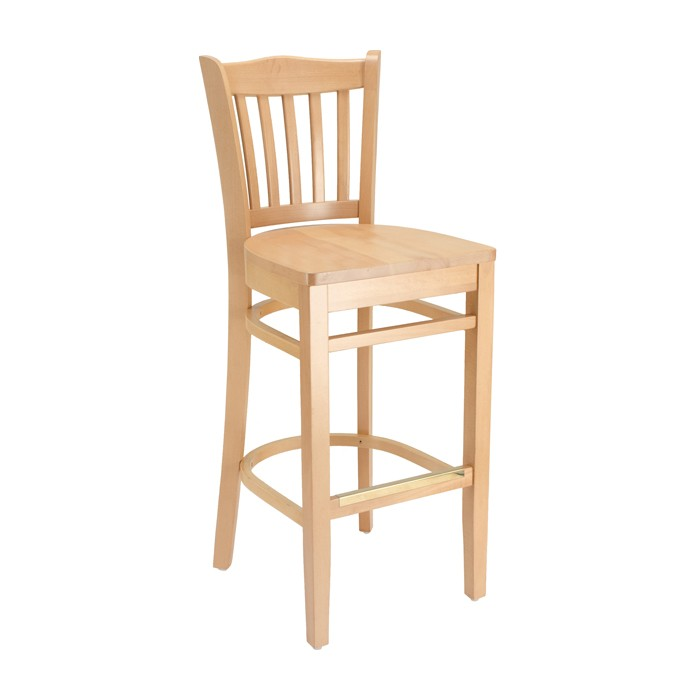Natural Stain Jailhouse Barstool with Wood Saddle Seat for Restaurants & Bars