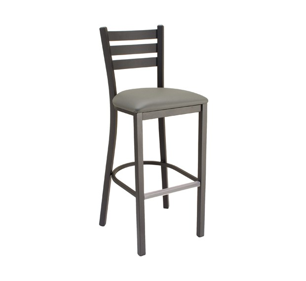 Slate Grey Vinyl, Onyx Black Frame Barstool for Restaurants & Bars