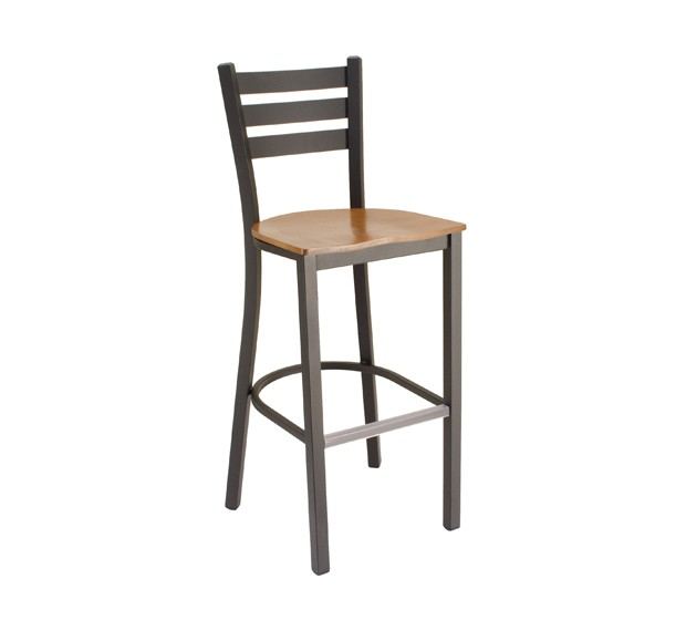 Fawn Stain, Onyx Black Frame Park Avenue Ladderback Metal Barstool with Wood Saddle Seat