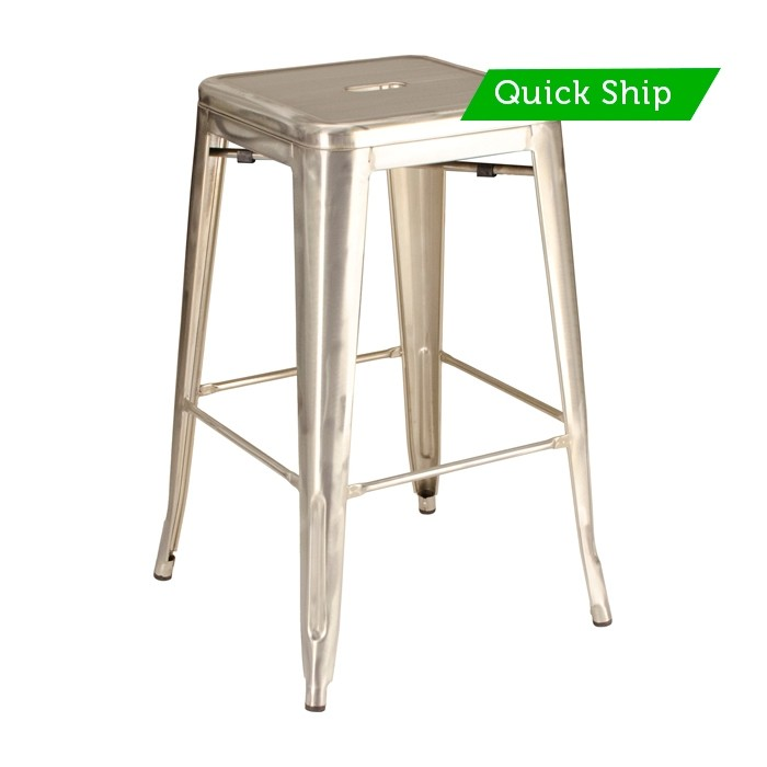 Paris backless barstool with galvanized finish