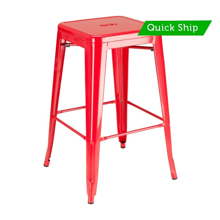 Paris backless metal barstool red powdercoat finish