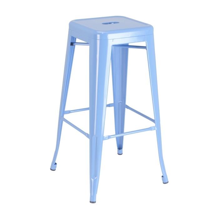 Blue Calais Backless Barstool