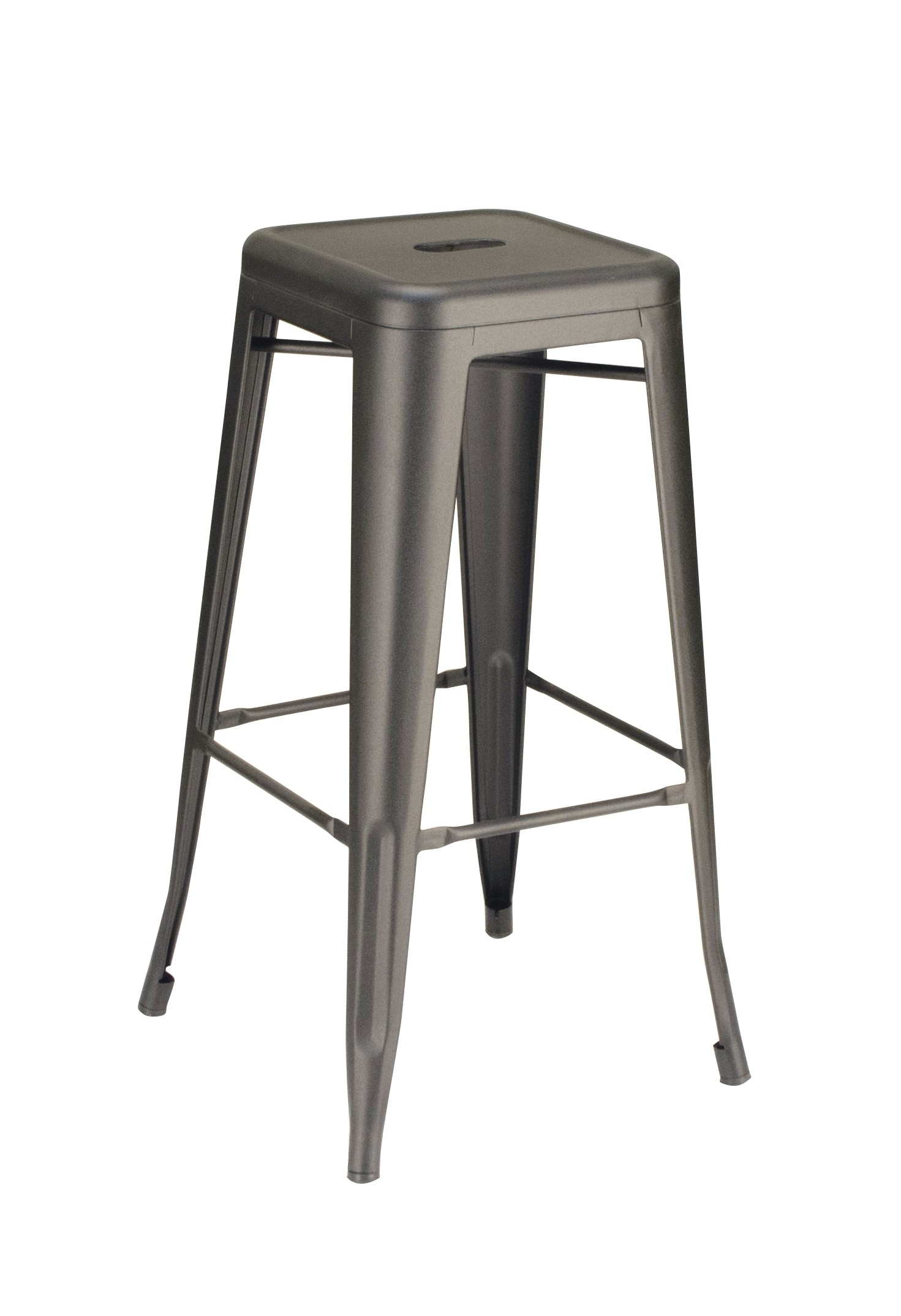 Calais Metal Backless Barstool - Matte Clear Coat