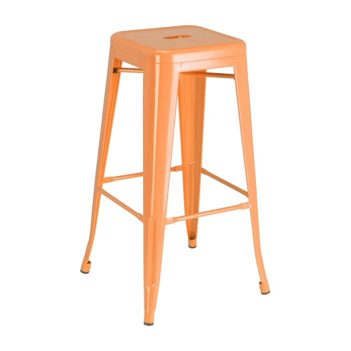Orange Calais Backless Barstool