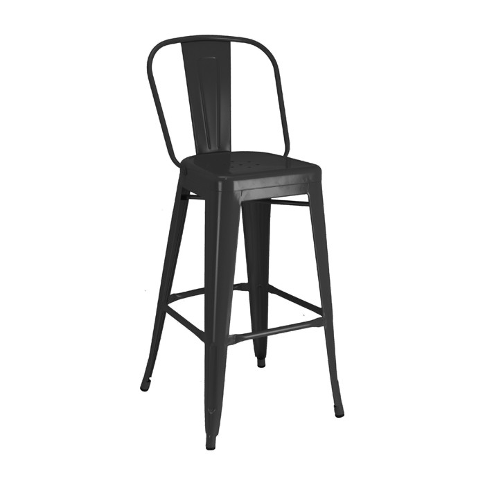 Black Calais High Back Barstool - front angle