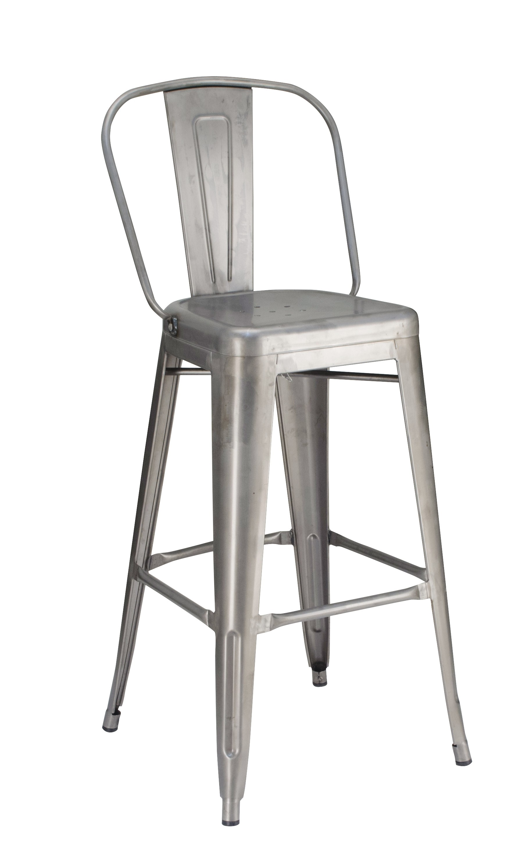 Calais Metal High Back  Barstool - Matte Clear Coat