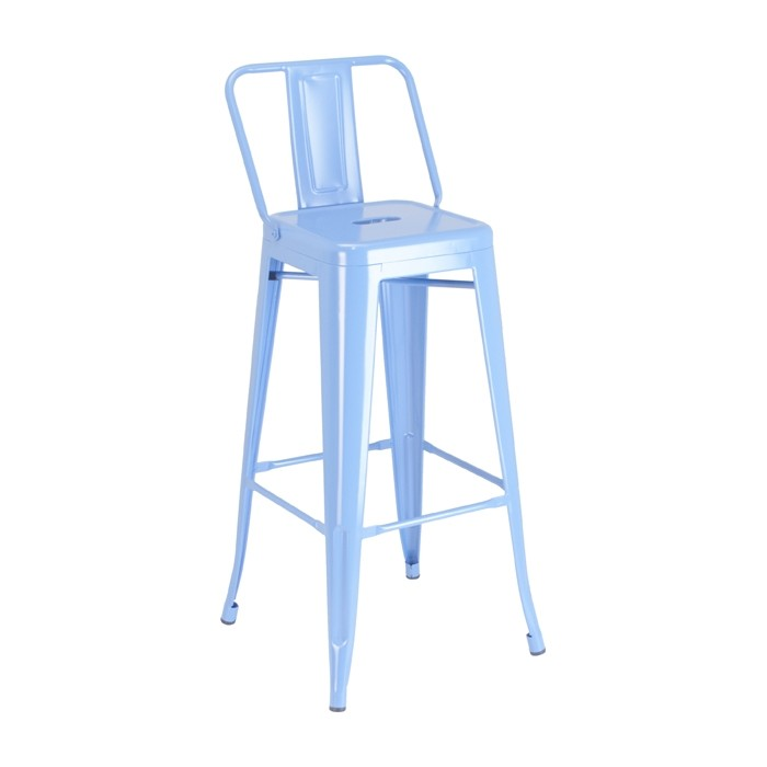 Calais Low Back Barstool - blue - front angle