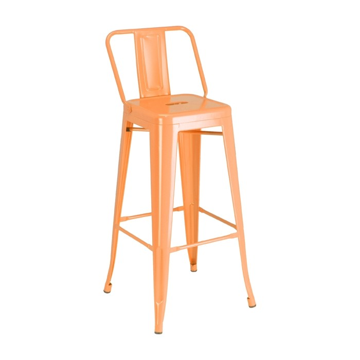 Calais Low Back Barstool - orange- front angle