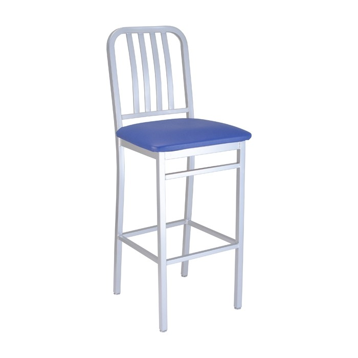 Silver Bullet frame with Blue Jay vinyl seat, front angle