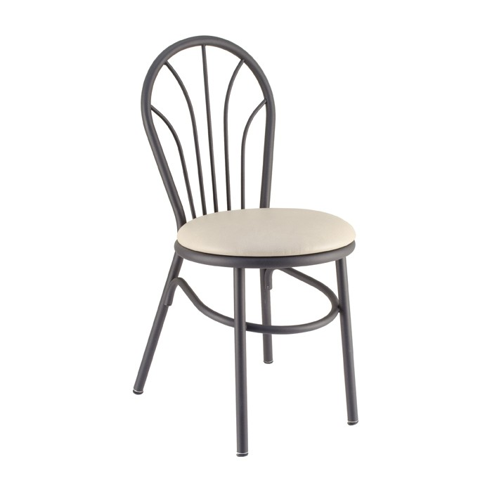 Curveline Metal Parlor Chair with Upholstered Seat for Restaurants & Bars
