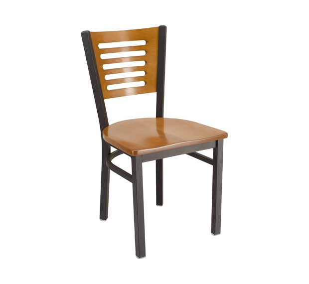 Fawn Stain Seat & Back Metal Restaurant Chair