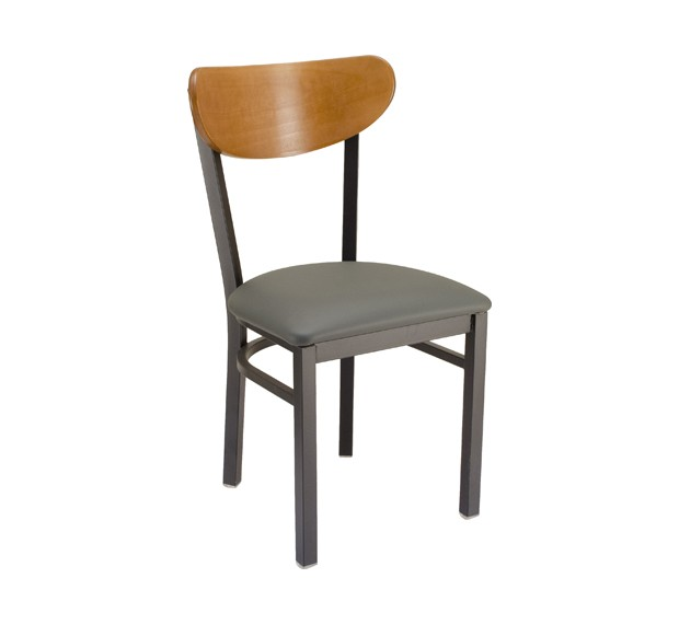 park avenue kidneyback metal chair with upholstered seat metal