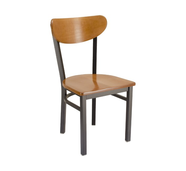Fawn Stain Seat & Back Park Avenue Kidneyback Metal Chair with Wood Saddle Seat