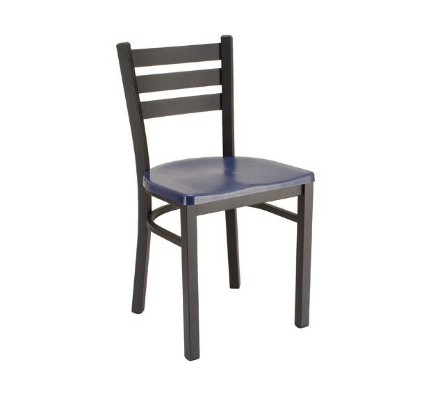 Atlantis Composite Seat, Onyx Black Frame Park Avenue Ladderback Metal Chair with Composite Seat