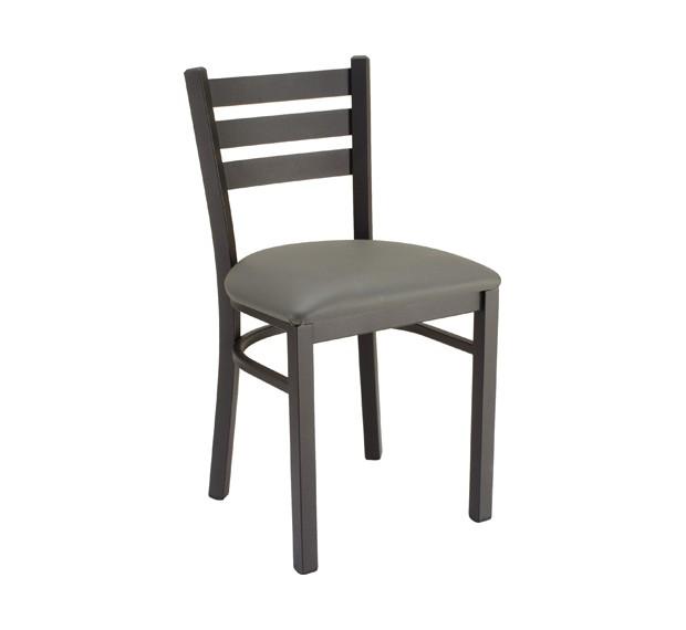 Slate Grey vinyl, Onyx Black frame Metal Chair for Restaurants & Bars