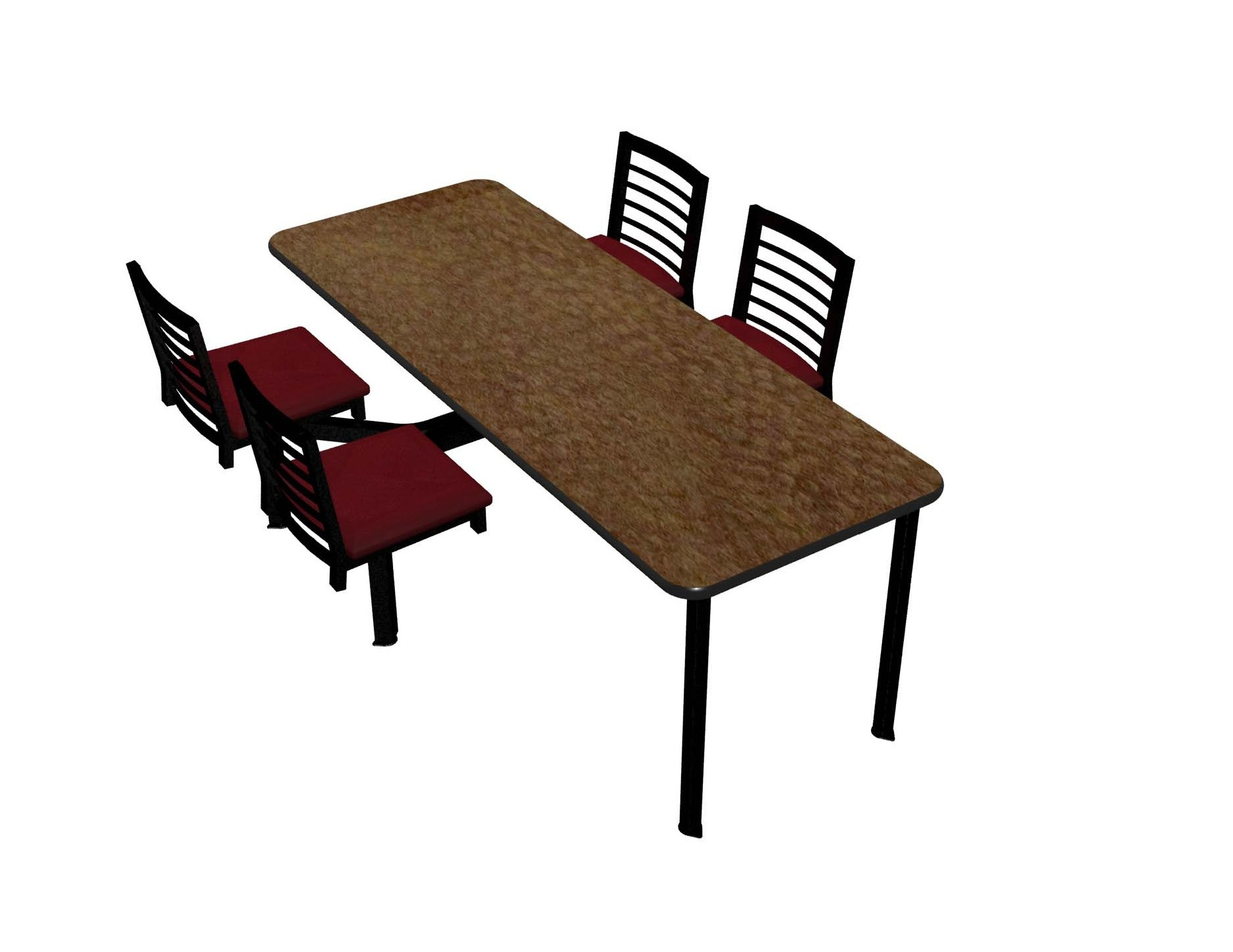 Windswept Bronze laminate table top, Black vinyl edge, Latitude chairhead with New Burgundy seat