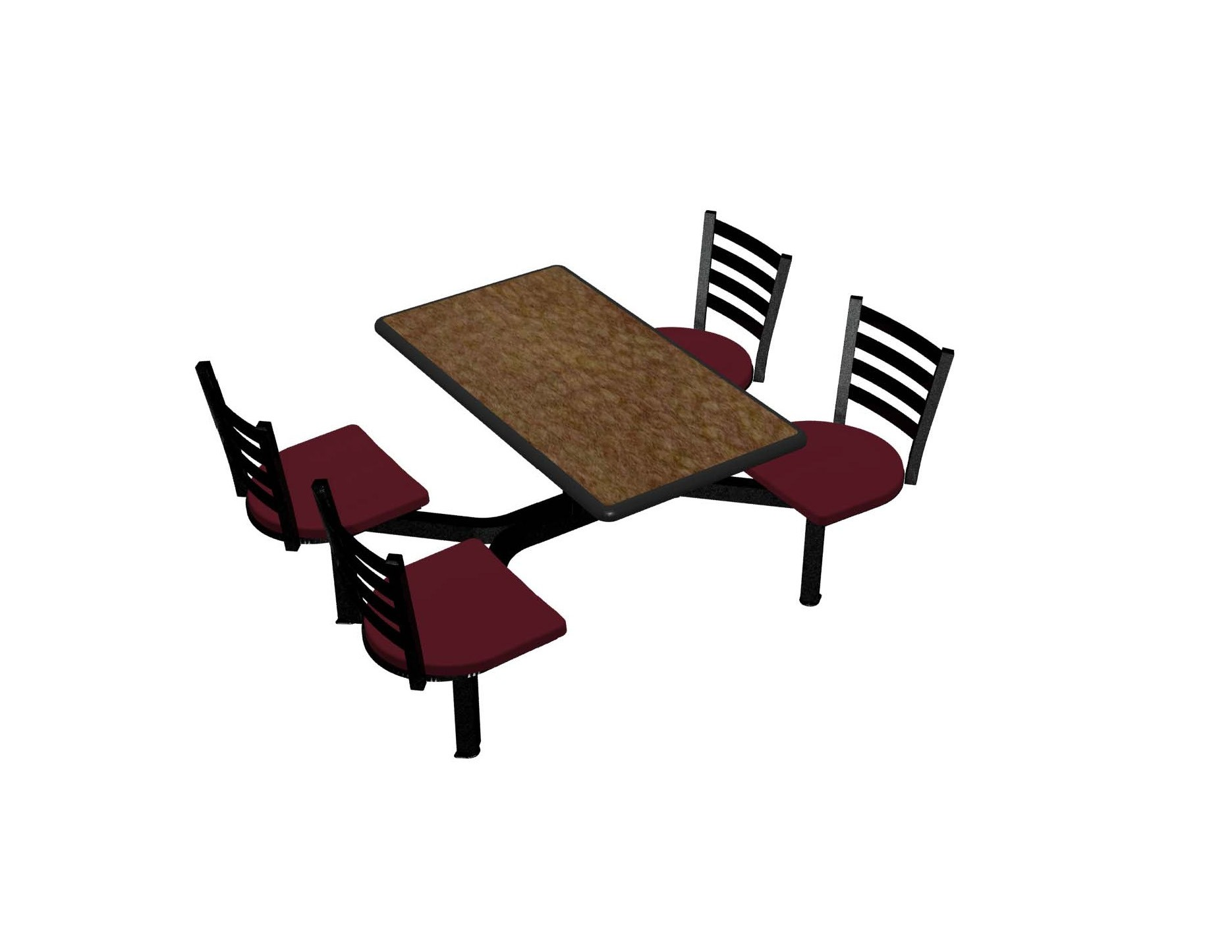 Windswept Bronze laminate table top, Black Dur-A-Edge®, Encore chairhead Burgundy Seat