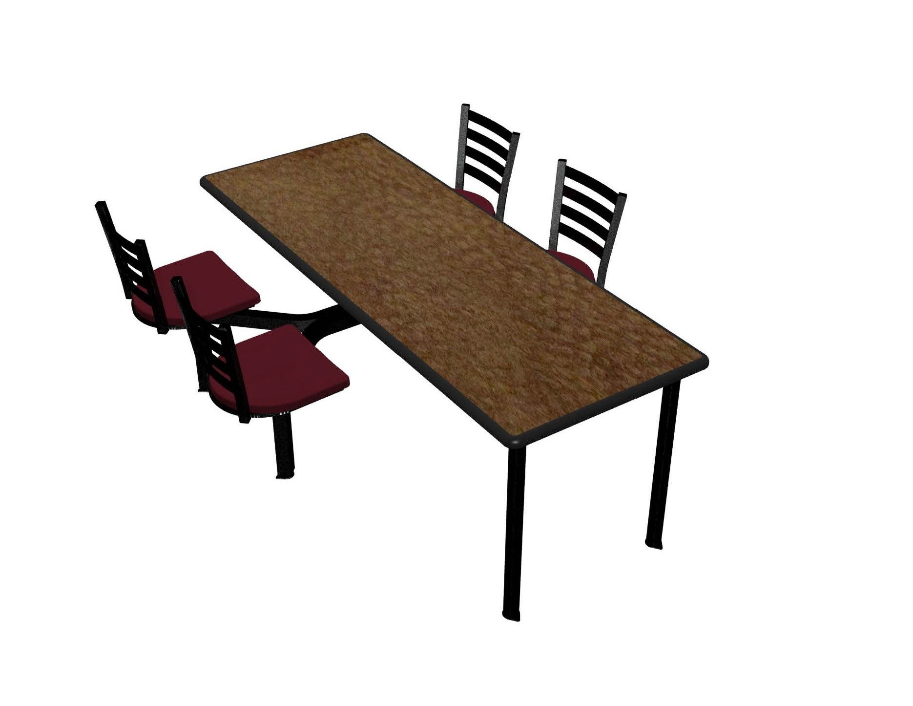 Windswept Bronze laminate table top, Black Dur-A-Edge®, Encore chairhead with Burgundy composite seat