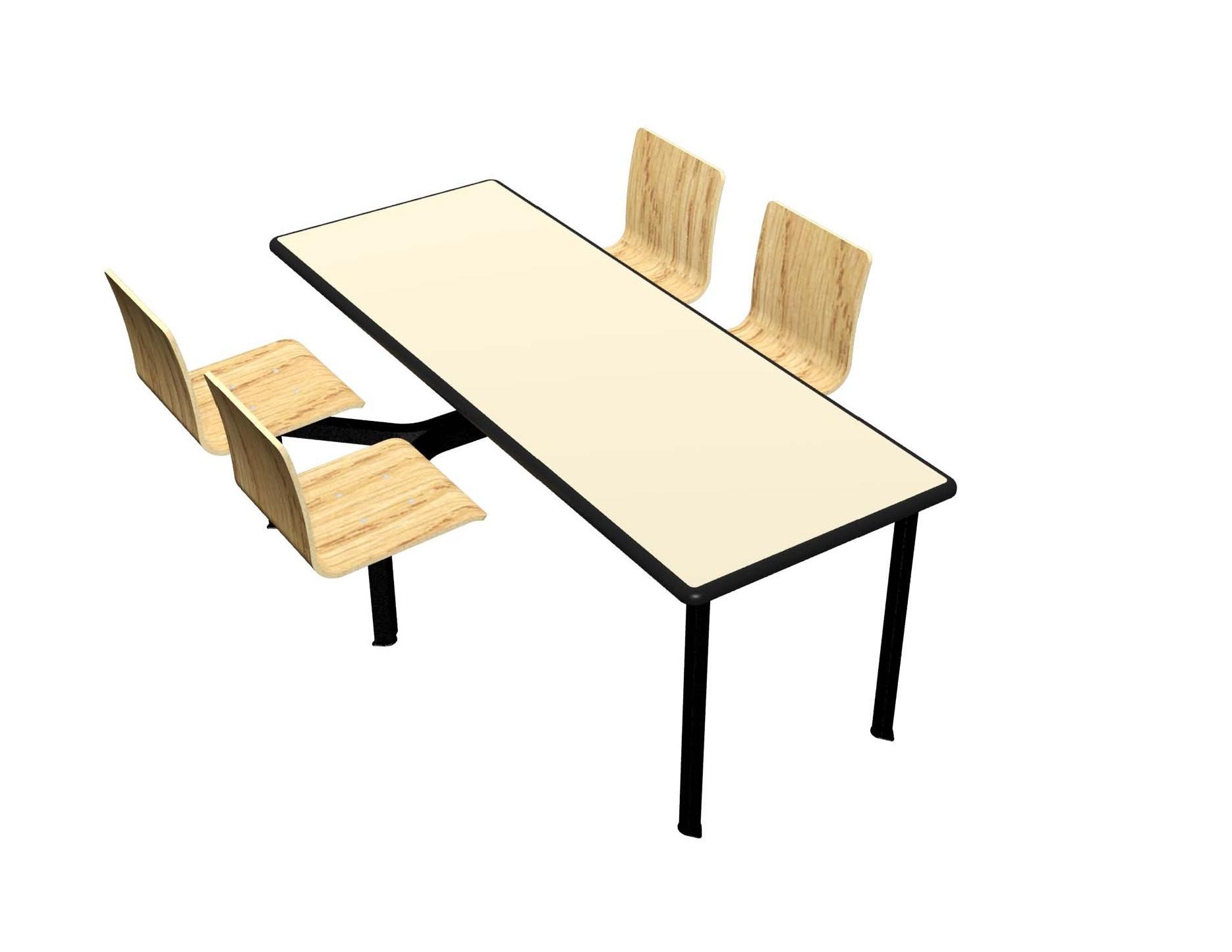 Wallaby laminate table, Black Dur-A-Edge®, Legacy chairhead in Natural Oak laminate