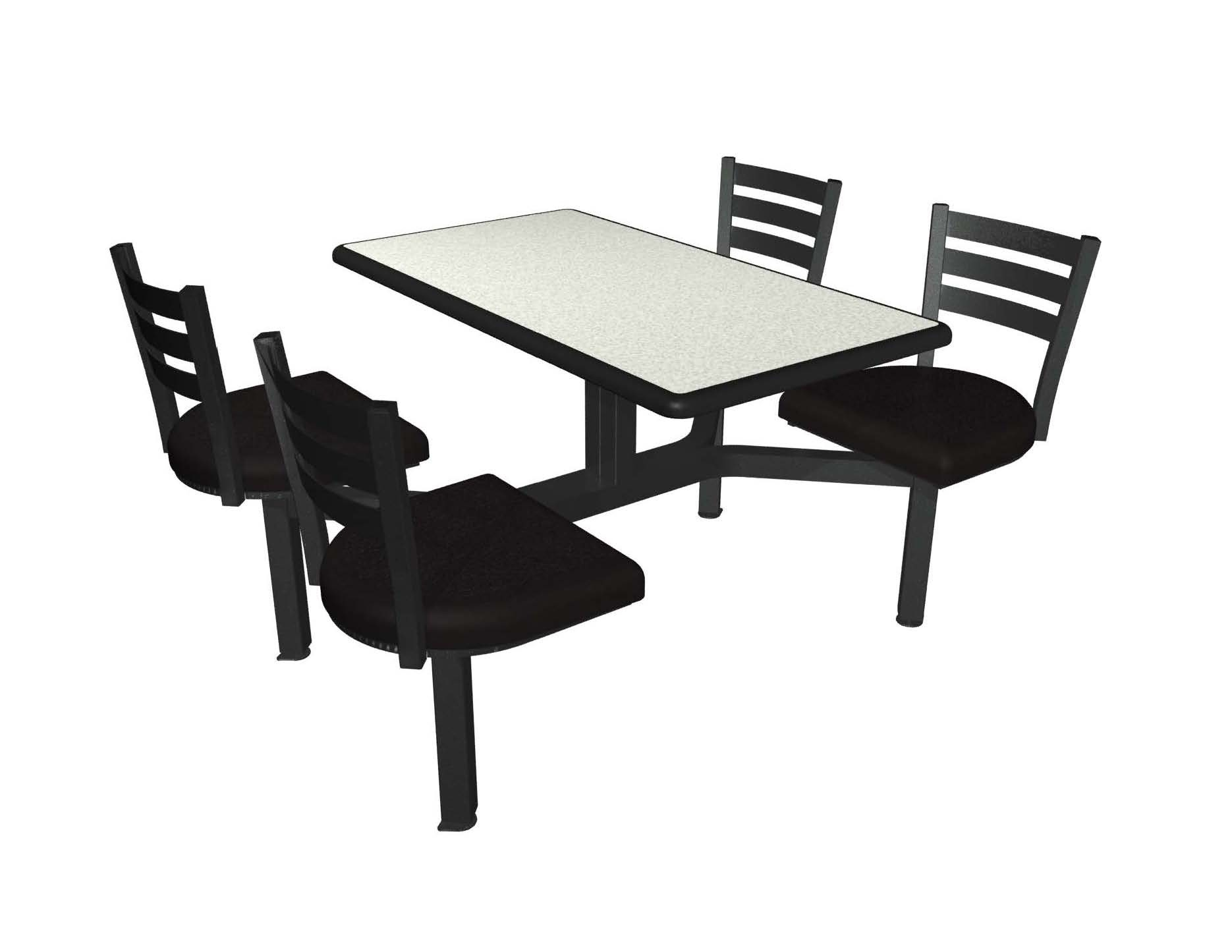 White Nebula laminate table top, Black Dur-A-Edge, Quest chairhead black vinyl seat