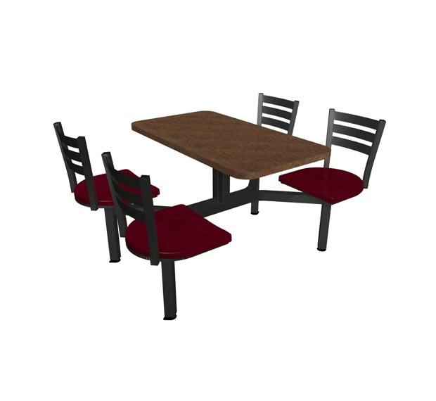 Windswept Bronze laminate table top, Quest chairhead Cranberry seat