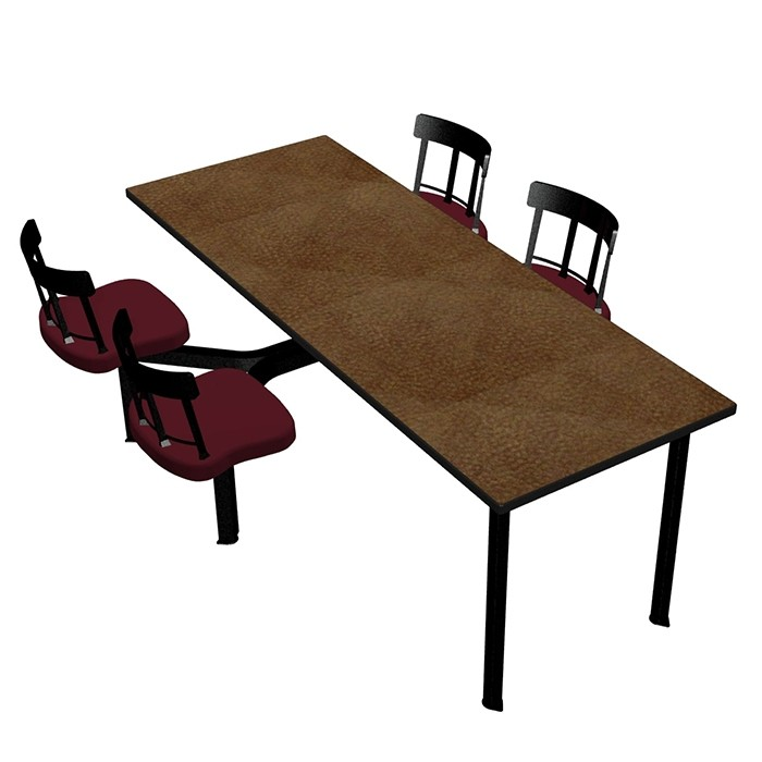 Windswept Bronze laminate table top, Black Dur-A-Edge® and Country chairhead with Burgundy composite seat