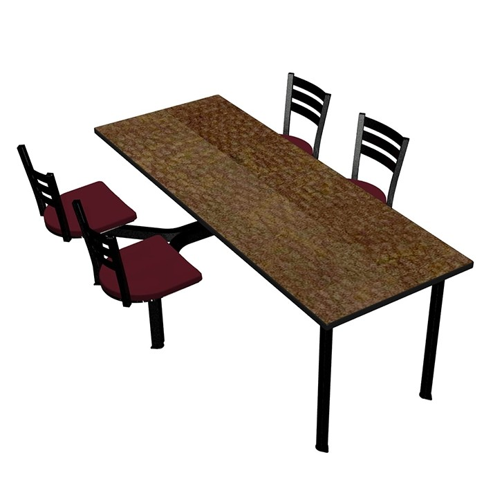 Windswept Bronze laminate table top, Black Dur-A-Edge®, Quest chairhead with Burgundy composite seat