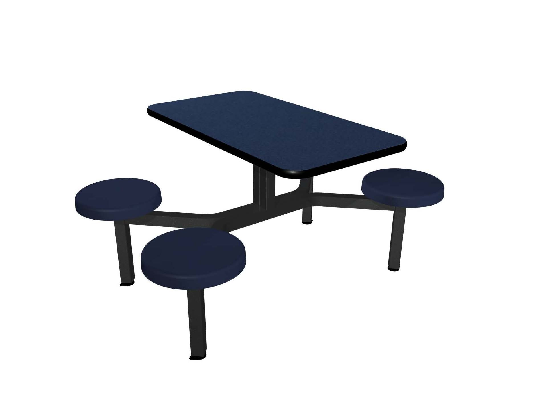 Navy Legacy laminate table top, Black vinyl edge, Composite button seat in Navy