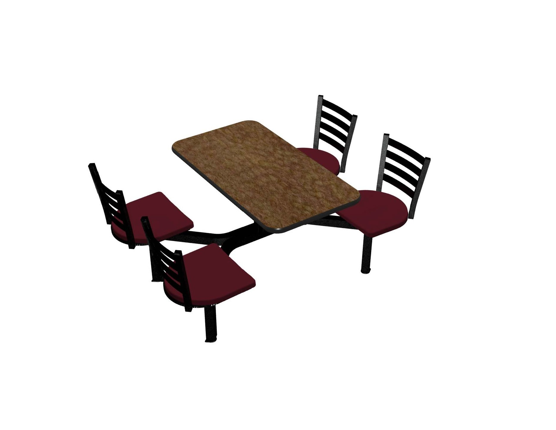 Windswept Bronze laminate table top, Black vinyl edge, Encore chairhead Burgundy Seat