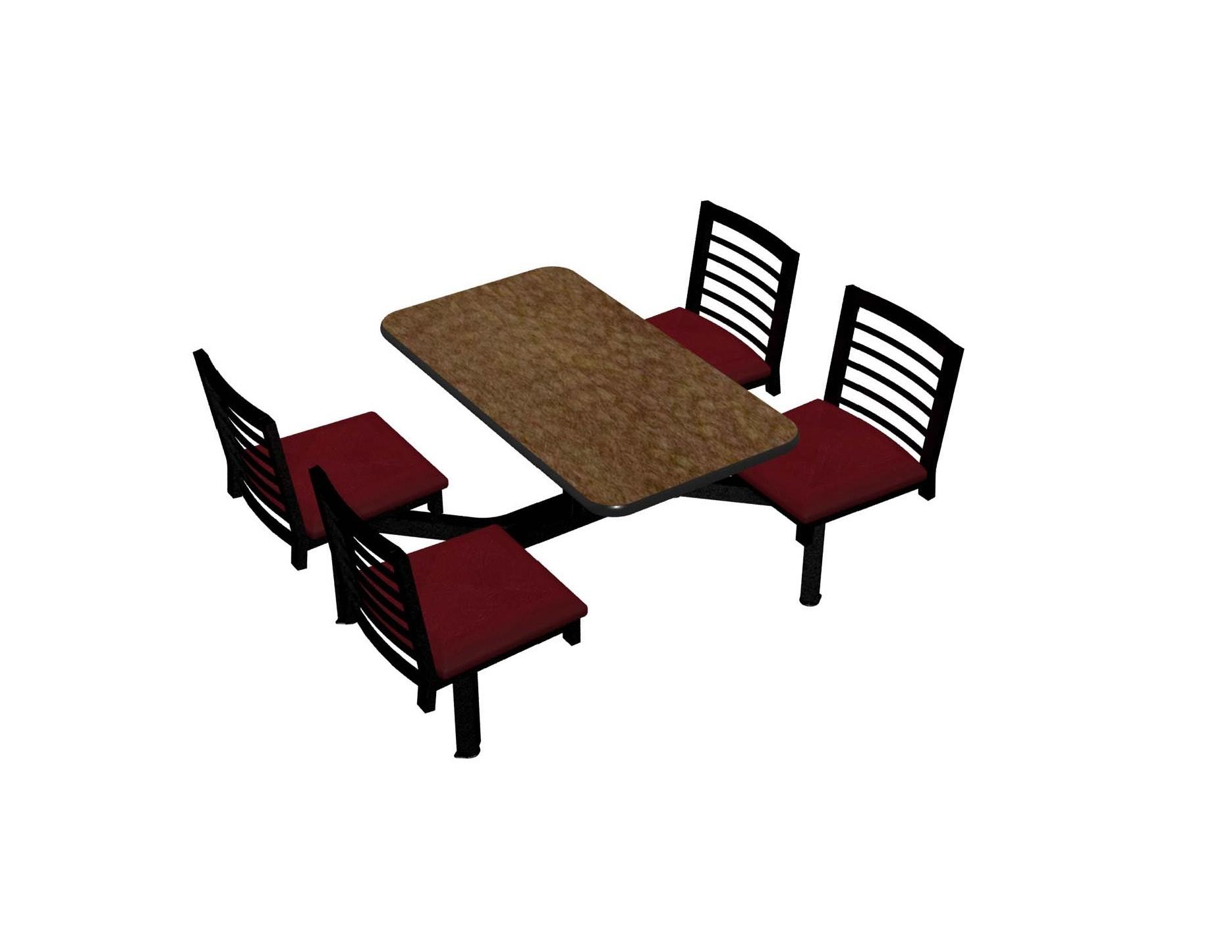 Windswept Bronze laminate table, Black vinyl edge, Latitude chairhead with New Burgundy seat
