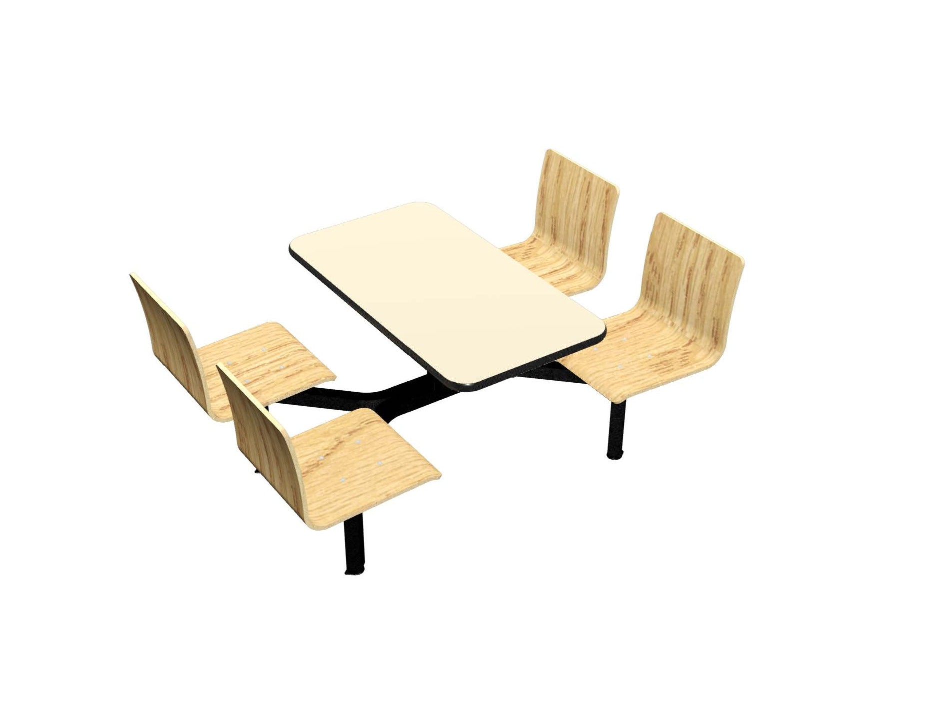 Wallaby laminate table, Black Dur-a-Edge®, Legacy chairhead in Natural Oak laminate