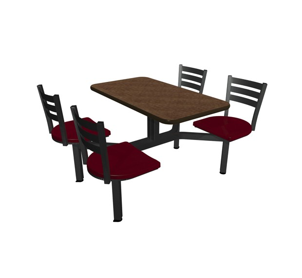 Windswept Bronze laminate table top, Black vinyl edge, Quest chairhead Burgundy Seat