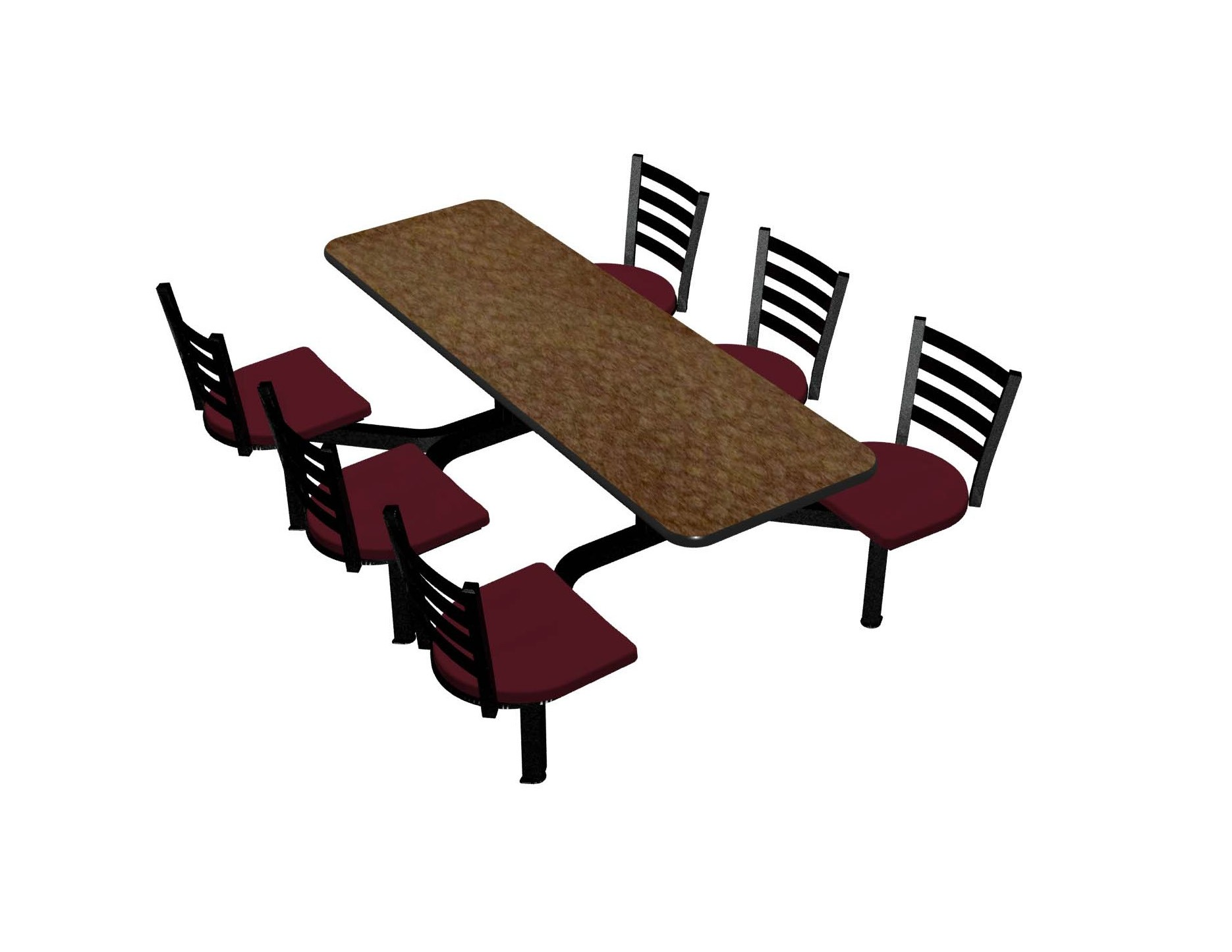 Windswept Bronze laminate table top, Black Dur-A-Edge®, Encore chairhead with Burgundy seat