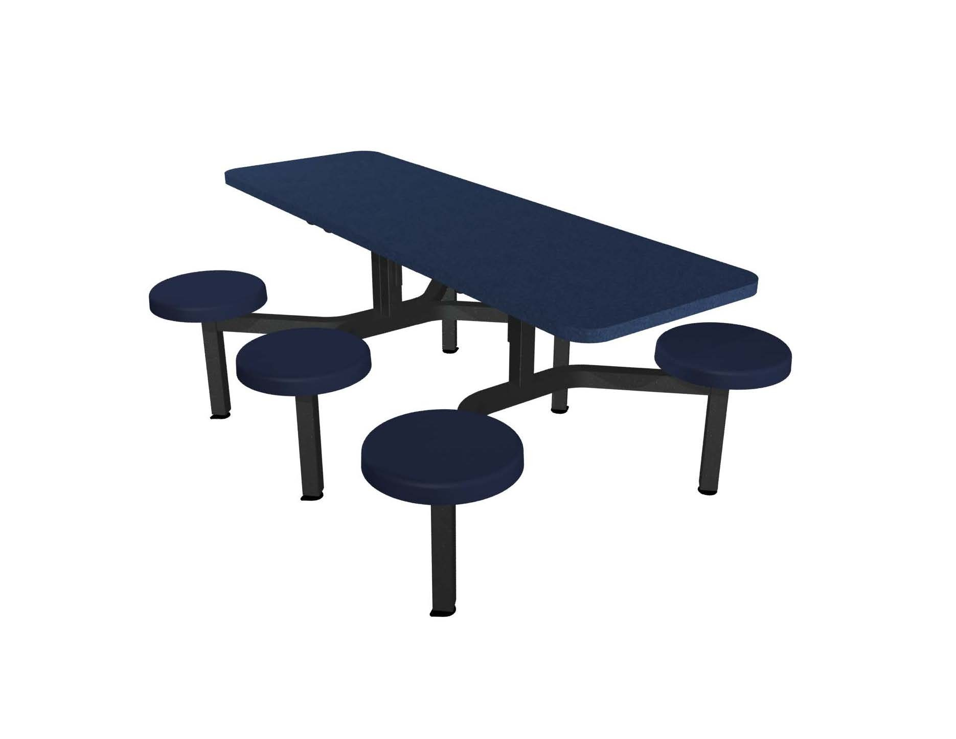 Navy Legacy laminate table top and edge, Composite button seat in Navy