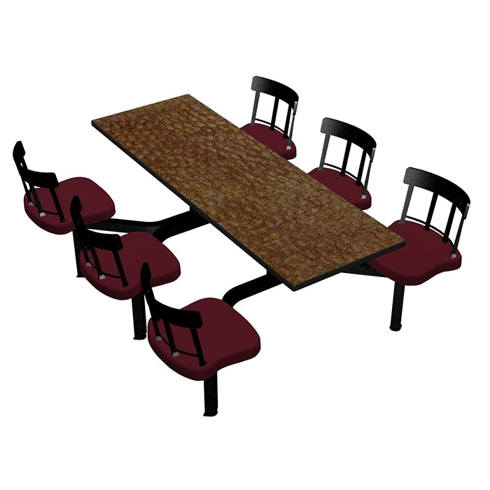 Windswept Bronze laminate table top, Black Thin Profile Dur-A-Edge®, Country chairhead with Burgundy composite seat