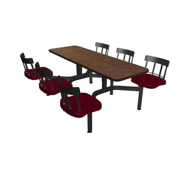 Windswept Bronze laminate table top, Black vinyl edge, and  Country chairhead with Burgundy composite seat