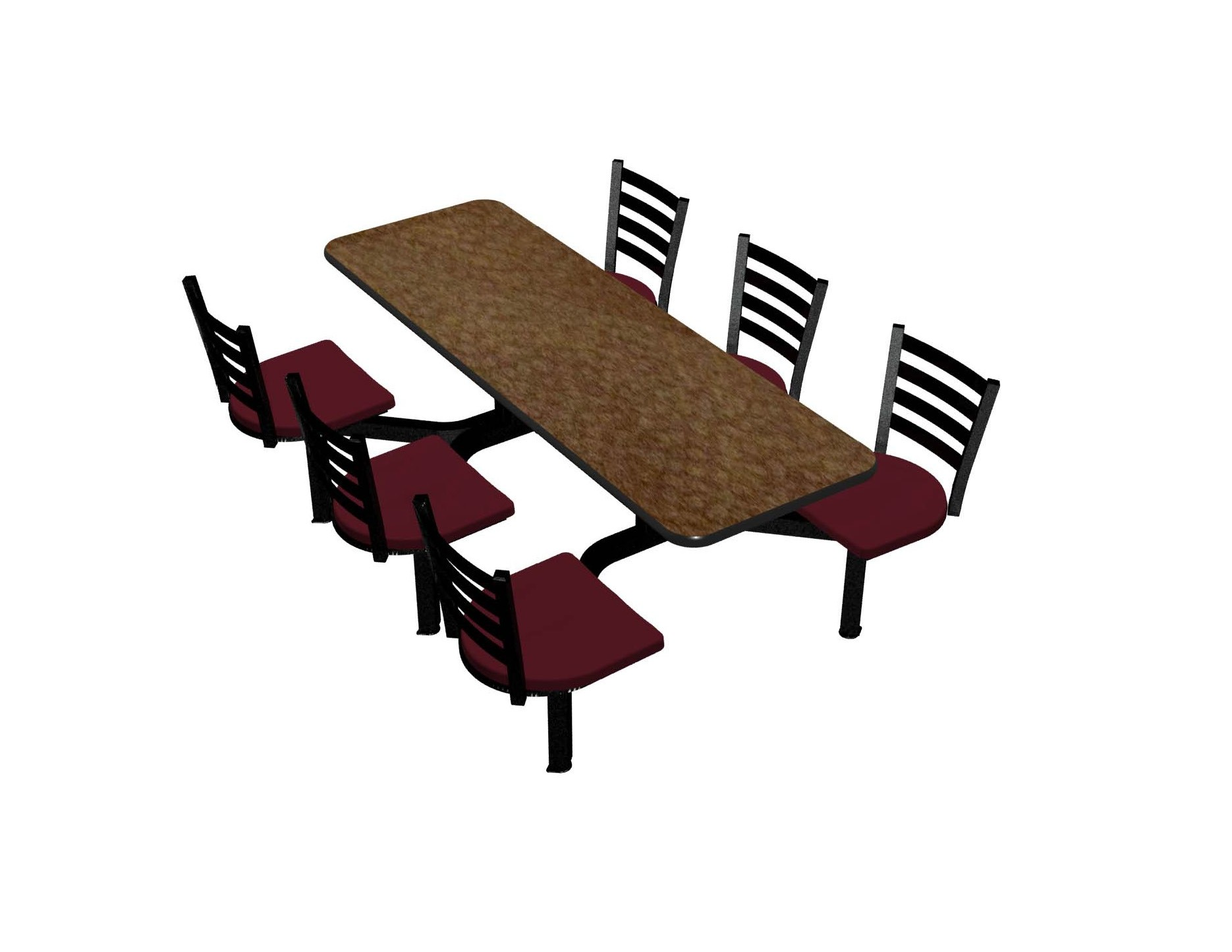 Windswept Bronze laminate table, Black vinyl edge, Encore chairhead with Burgundy seat