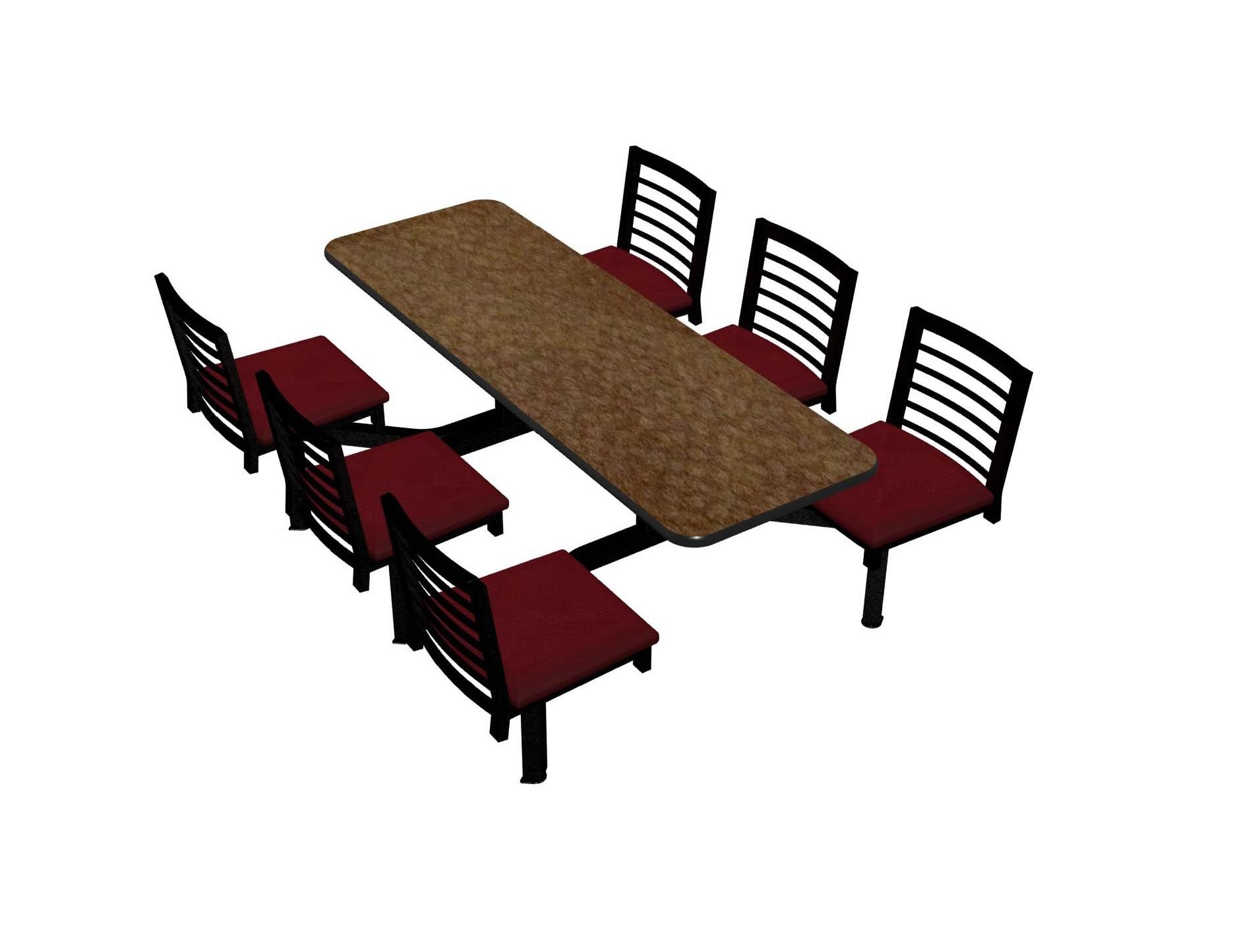 Windswept Bronze laminate table top, Black vinyl edge, Latitude chairhead with New Burgundy seat