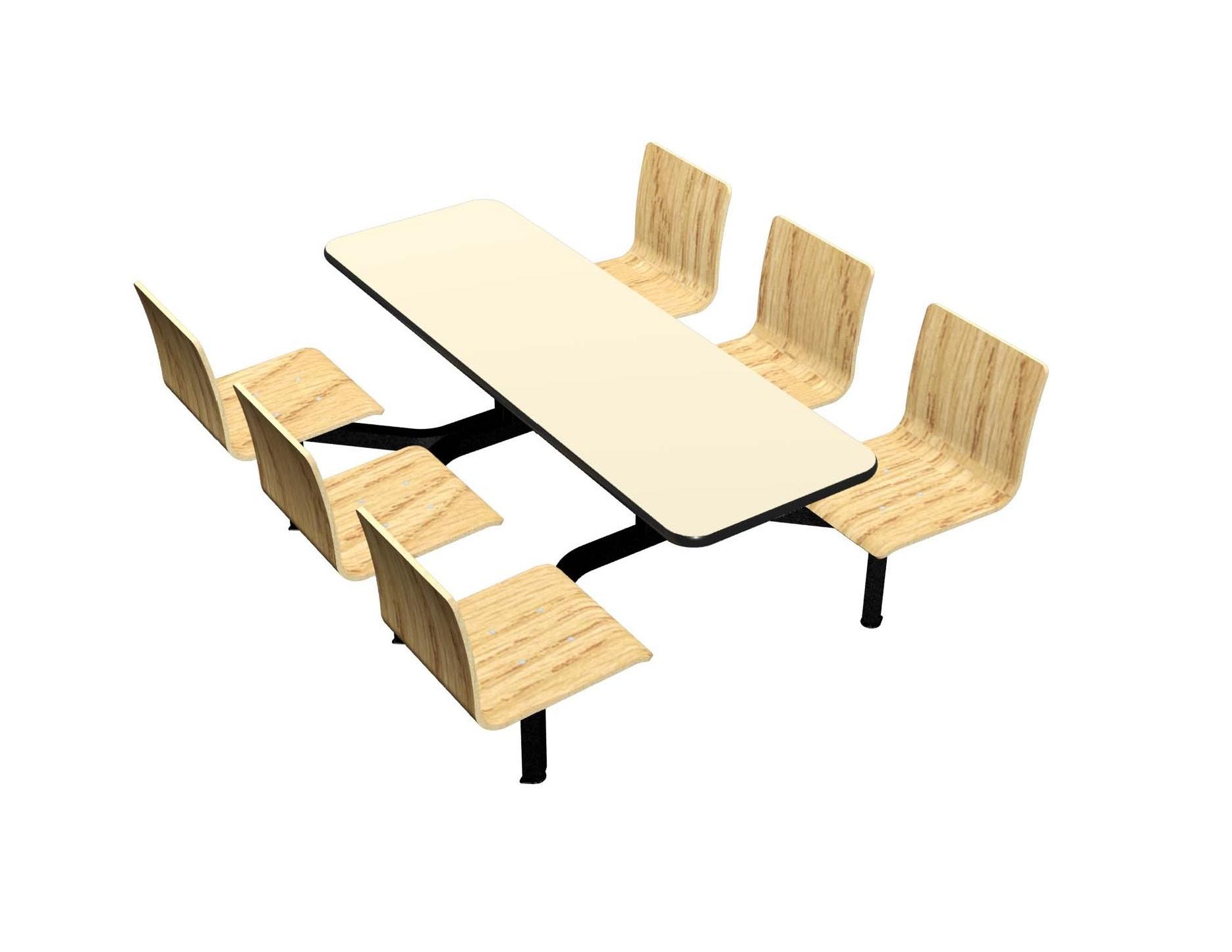 Wallaby laminate table, Black vinyl edge, Legacy chairhead in Natural Oak laminate