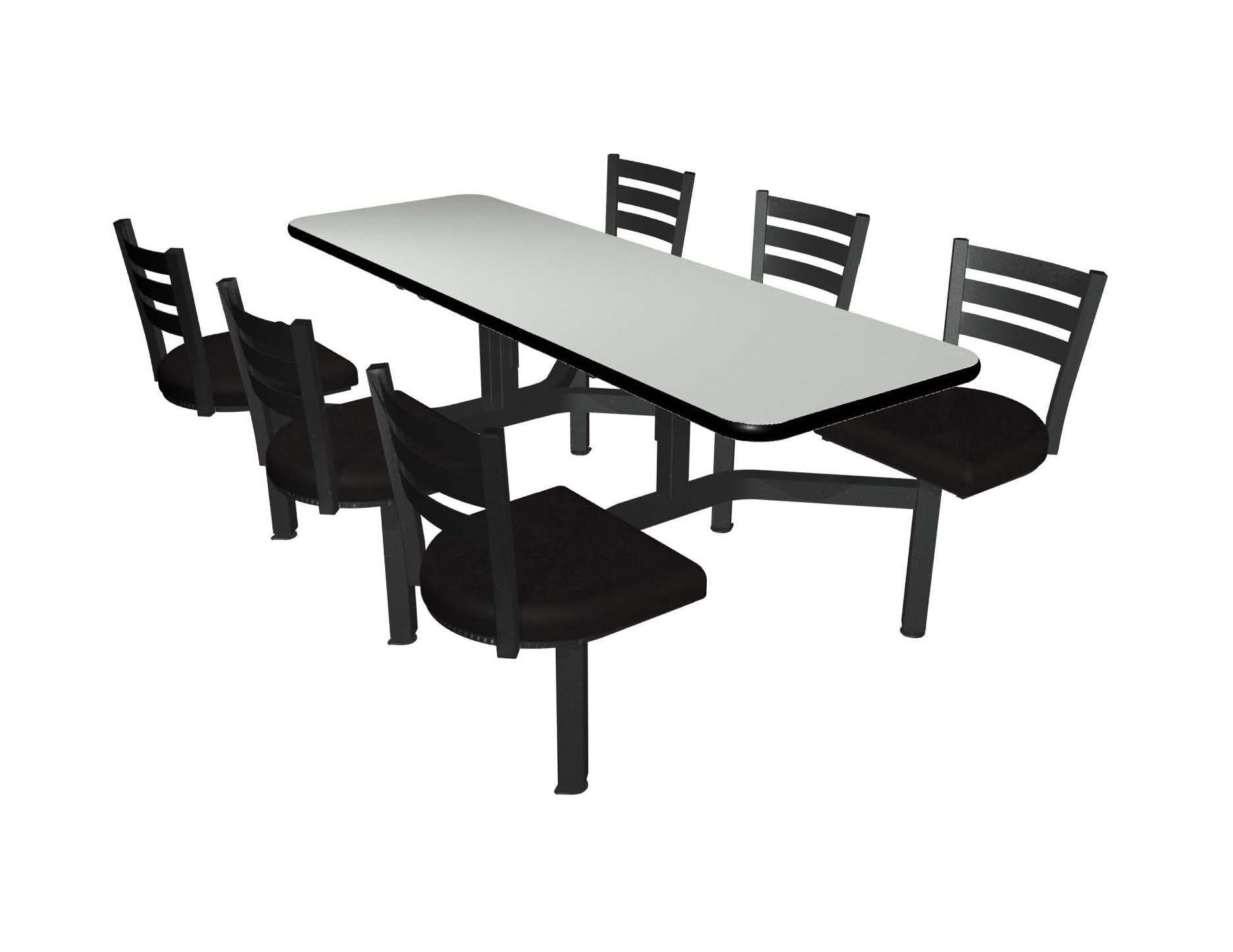 Dove Grey laminate table top, Black vinyl edge, Quest chairhead with black vinyl seat