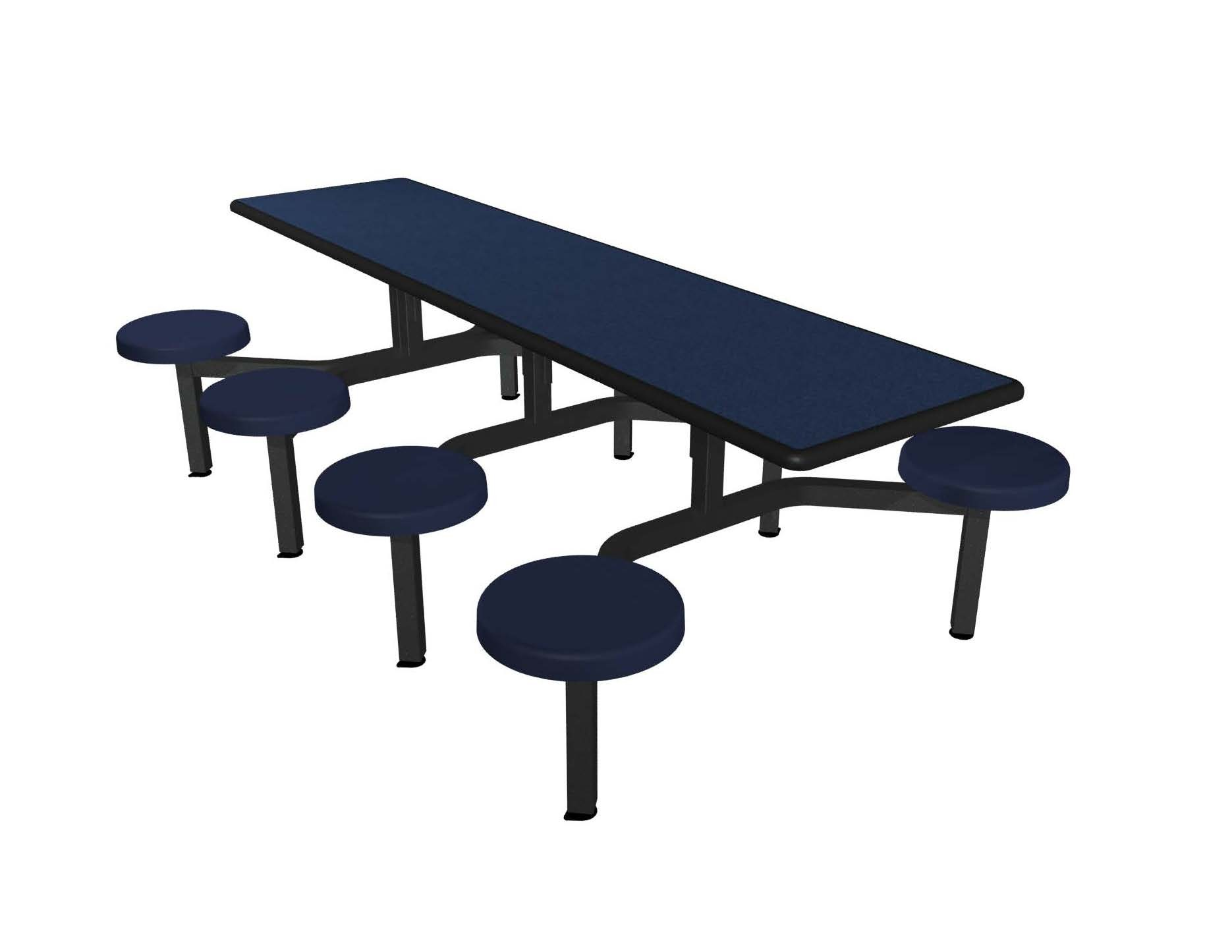 Navy Legacy laminate table top, Black Dur-A-Edge®, Navy Blue composite button seat