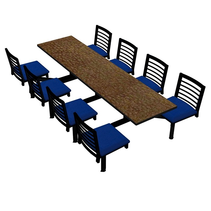 Windswept Bronze laminate table, Black Dur-A-Edge, Latitude chairhead with Blue Jay vinyl seat